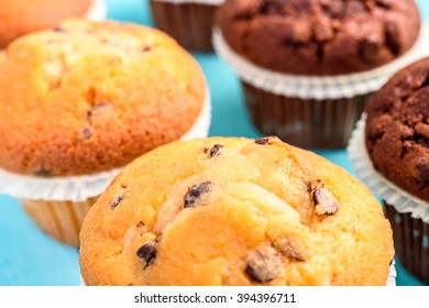 Chocolate Chip Muffins On Blue Table