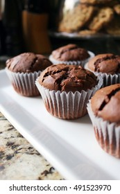 Chocolate Chocolate Chip Muffins on a White Plate