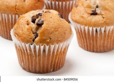Chocolate chip Muffins on a white background