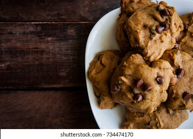 Chocolate Chip pumpkin cookies on a plate