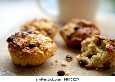 Chocolate Chip Scones on a Wooden Surface
