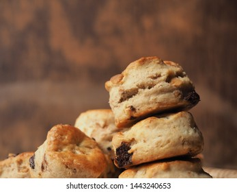 Chocolate chip scones with wood background