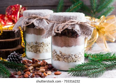 Chocolate chips cookie mix in glass jar for Christmas gift