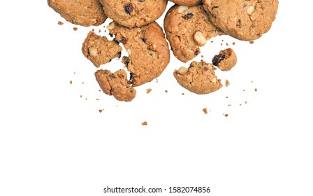 Chocolate Chips Cookies isolated with clipping path on transparent background. Flat lays