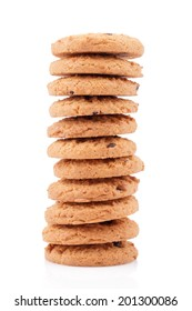 Chocolate chips cookies isolated on white background