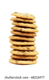 a chocolate chips cookies on white