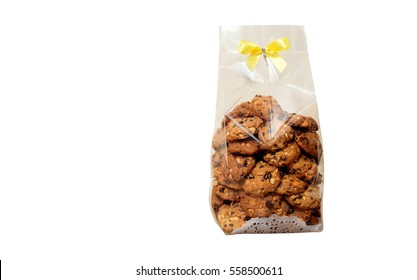 Chocolate chips cookies in plastic bag packaging isolated on white background,copy space.