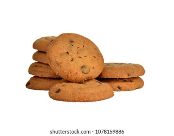 Chocolate chips cookies stacking isolated on white