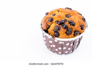 Chocolate chips cupcake on white background
