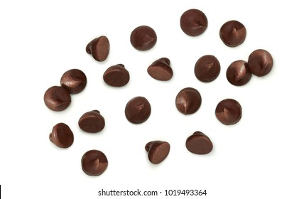 Chocolate chips morsels or drops from top view isolated on white background