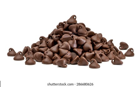 Chocolate chips morsels pile or heap isolated on white background