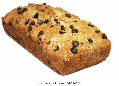 Chocolate chips and walnuts bread isolated