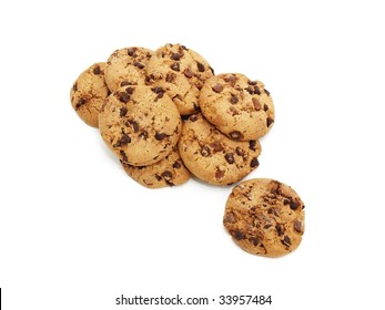 chocolate chunk cookies isolates on white background