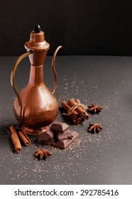 chocolate with cinnamon and spices ET, with oriental teapot