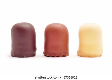 Chocolate coated marshmallow treats isolated