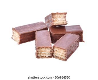 Chocolate Coated Wafer white background