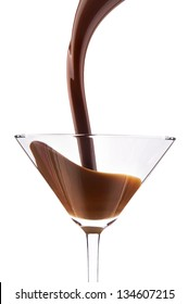 chocolate cocktail with splash isolated on white