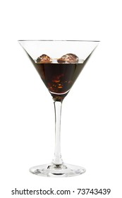 Chocolate cocktails with ice cubes
