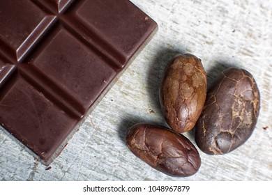 chocolate and cocoa beans closeup in Ecuador