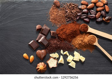 Chocolate, cocoa powder and cocoa beans pod