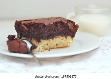 Chocolate coconut brownie, selective focus