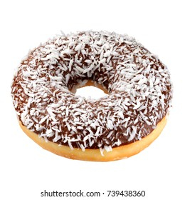 Chocolate coconut donut isolated on white background with clipping path