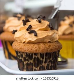 Chocolate coffee cupcake, with leopard print