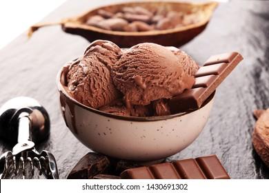 Chocolate coffee ice cream ball in a bowl with organic chocolate