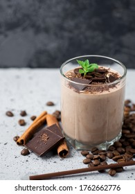 Chocolate coffee milkshake smoothies with nuts