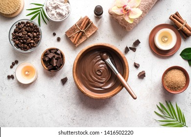 Chocolate and Coffee Spa flat lay on white background, top view. Natural spa beauty products with coffee and chocolate.