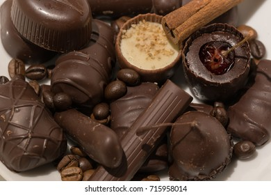 Chocolate composition on the white background