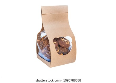 Chocolate cookie box isolated on white background. Brown folded recycle paper bag, packaging for food snack or ingredient.