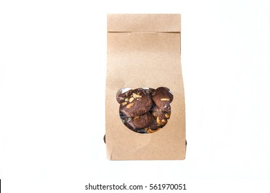 Chocolate cookie box isolated on white background Brown folded recycle paper bag, packaging for food snack or ingredient.