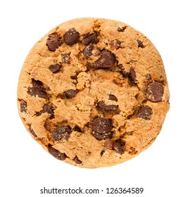 chocolate cookie in front of white background