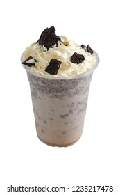Chocolate cookie milk shake topped whipping cream cheese in glass plastic isolated on white background with Clipping Path