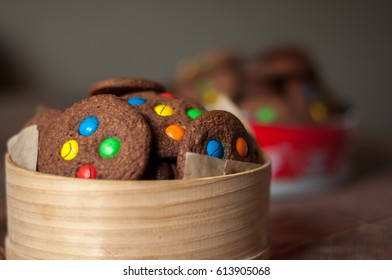 Chocolate cookies with colourful candy chips
