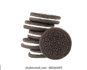 Chocolate cookies and cream isolated on white background