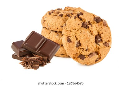 chocolate cookies with chocolate in front of white background