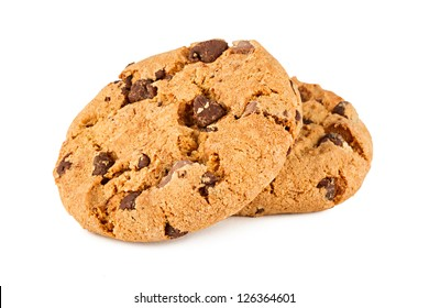 chocolate cookies in front of white background