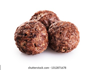 Chocolate corn balls isolated on white background. With clipping path.