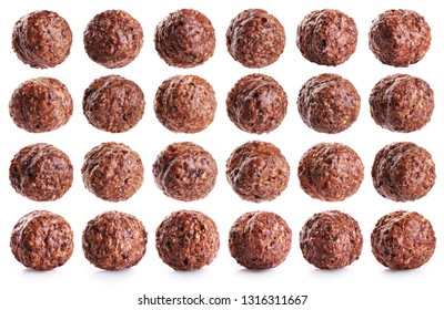 Chocolate corn balls isolated on white background. Collection with clipping path.