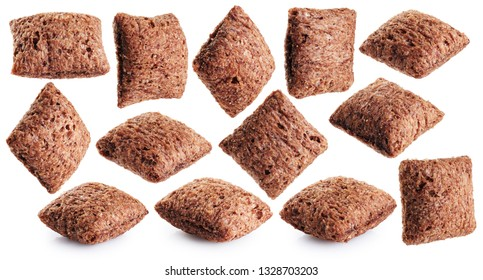 Chocolate corn pads  isolated on white background. Collection with clipping path.