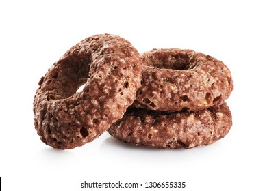 Chocolate corn rings isolated on white background. With clipping path.