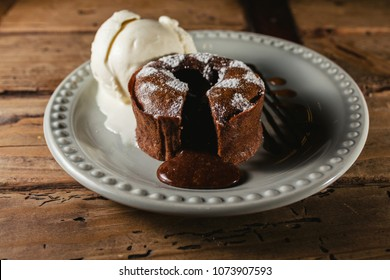 chocolate coulant or fondant Melting delicious pudding and ice cream