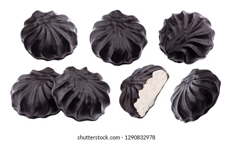 Chocolate covered marshmallows, traditional russian zephyr in chocolate isolated on white background with clipping path, collection