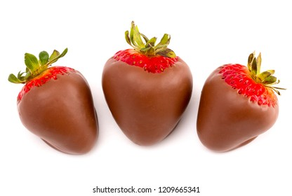 Chocolate Covered Strawberries Isolated on a White Background