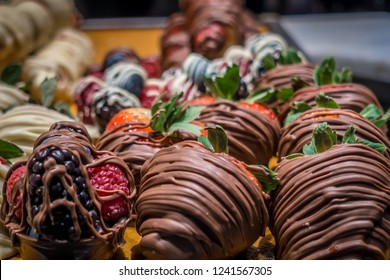 chocolate covered strawberries on display in store