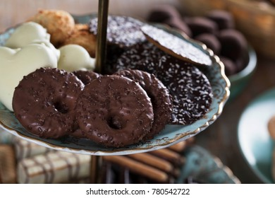 Chocolate covered tea cookies on serving tower