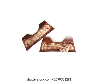Chocolate with cream filling. On a white background
