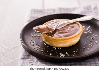 chocolate cream inside of a cake